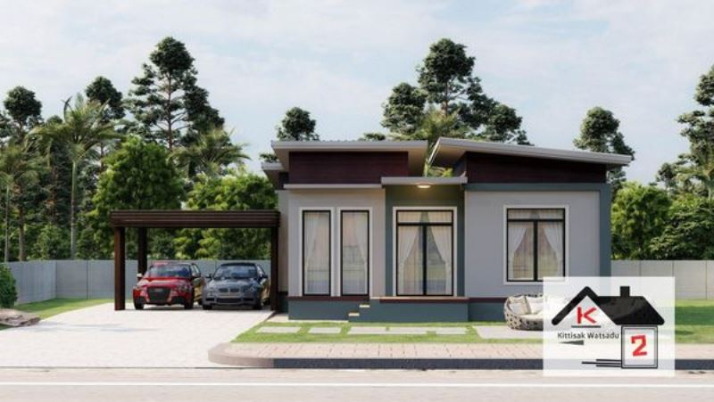 Picture of Small Two Bedroom Home Plan with Shed Roof