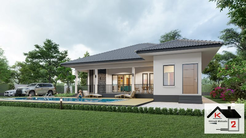 Picture of Single Storey Modern House Design with Swimming Pool